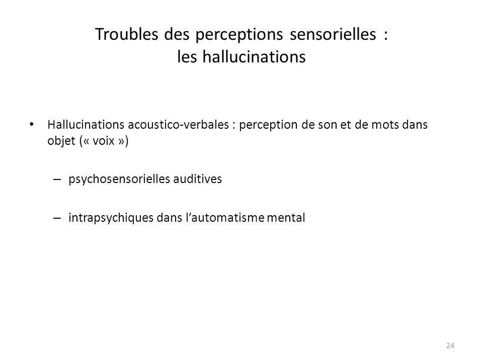 24 Troubles des perceptions sensorielles : les hallucinations Hallucinations acoustico-verbales : perception de son et de mots dans objet (« voix ») –