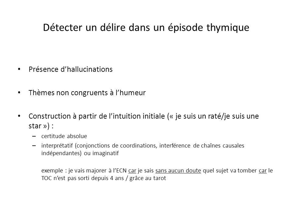 Détecter un délire dans un épisode thymique Présence dhallucinations Thèmes non congruents à lhumeur Construction à partir de lintuition initiale (« j