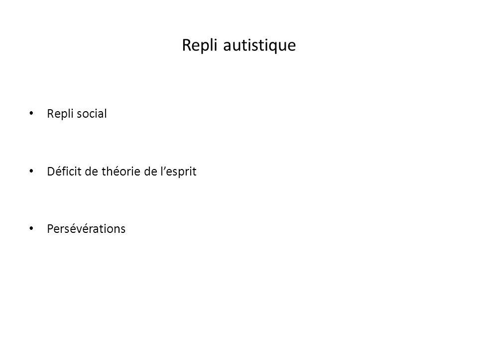 Repli autistique Repli social Déficit de théorie de lesprit Persévérations
