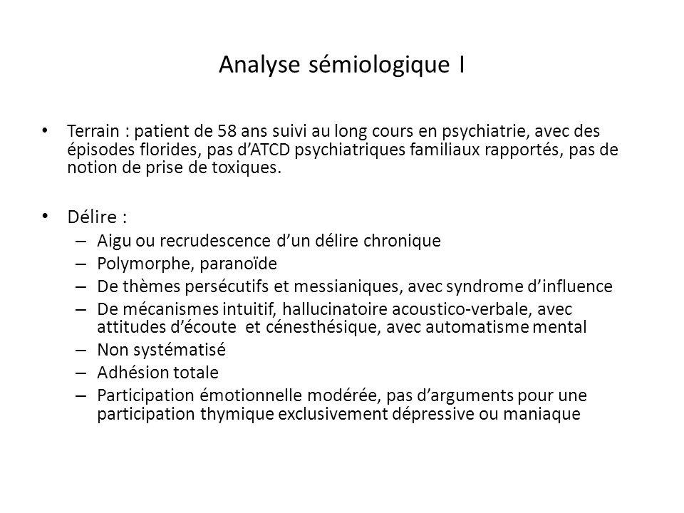Analyse sémiologique I Terrain : patient de 58 ans suivi au long cours en psychiatrie, avec des épisodes florides, pas dATCD psychiatriques familiaux
