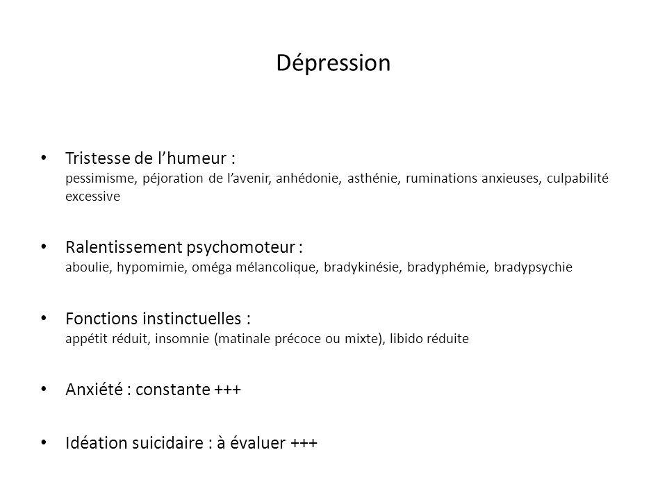 Dépression Tristesse de lhumeur : pessimisme, péjoration de lavenir, anhédonie, asthénie, ruminations anxieuses, culpabilité excessive Ralentissement