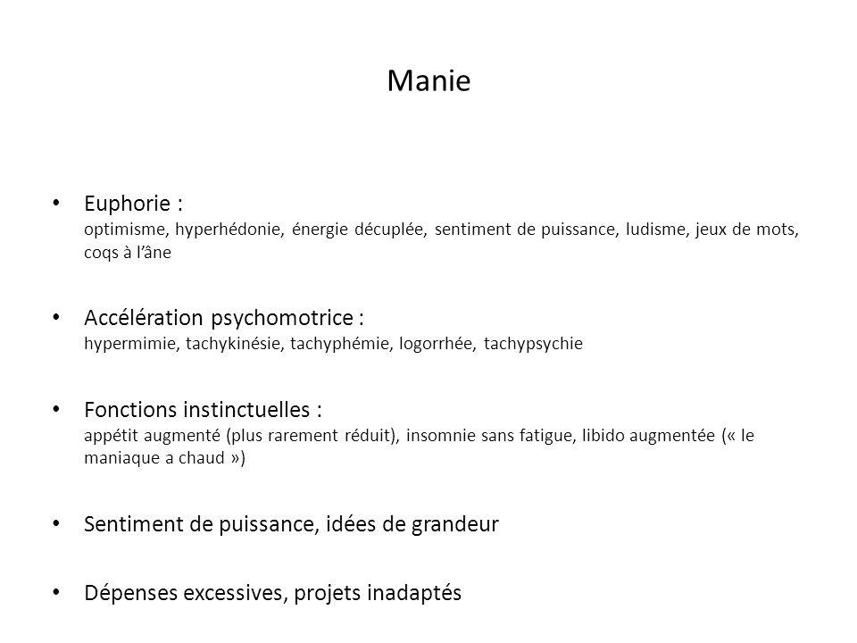 Manie Euphorie : optimisme, hyperhédonie, énergie décuplée, sentiment de puissance, ludisme, jeux de mots, coqs à lâne Accélération psychomotrice : hy