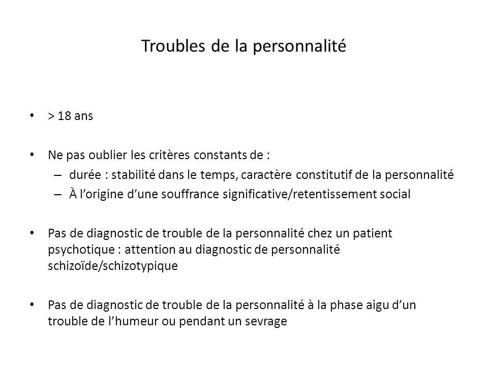 Troubles de la personnalité > 18 ans Ne pas oublier les critères constants de : – durée : stabilité dans le temps, caractère constitutif de la personn