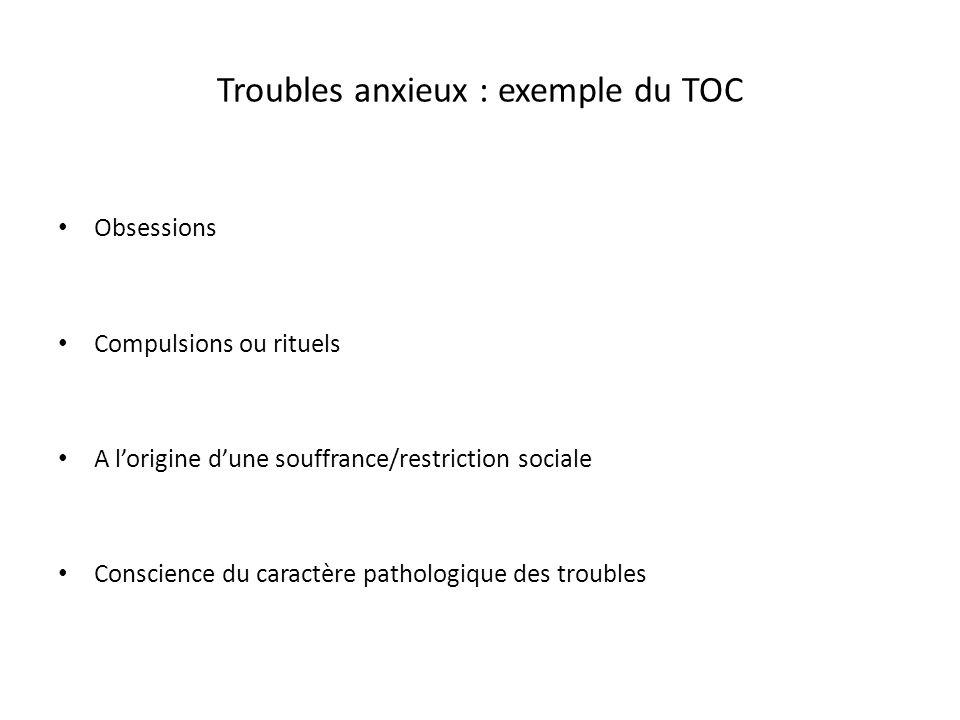 Troubles anxieux : exemple du TOC Obsessions Compulsions ou rituels A lorigine dune souffrance/restriction sociale Conscience du caractère pathologiqu