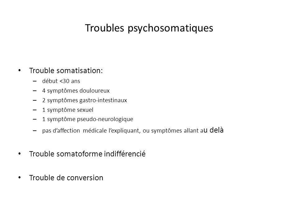 Troubles psychosomatiques Trouble somatisation: – début <30 ans – 4 symptômes douloureux – 2 symptômes gastro-intestinaux – 1 symptôme sexuel – 1 symp