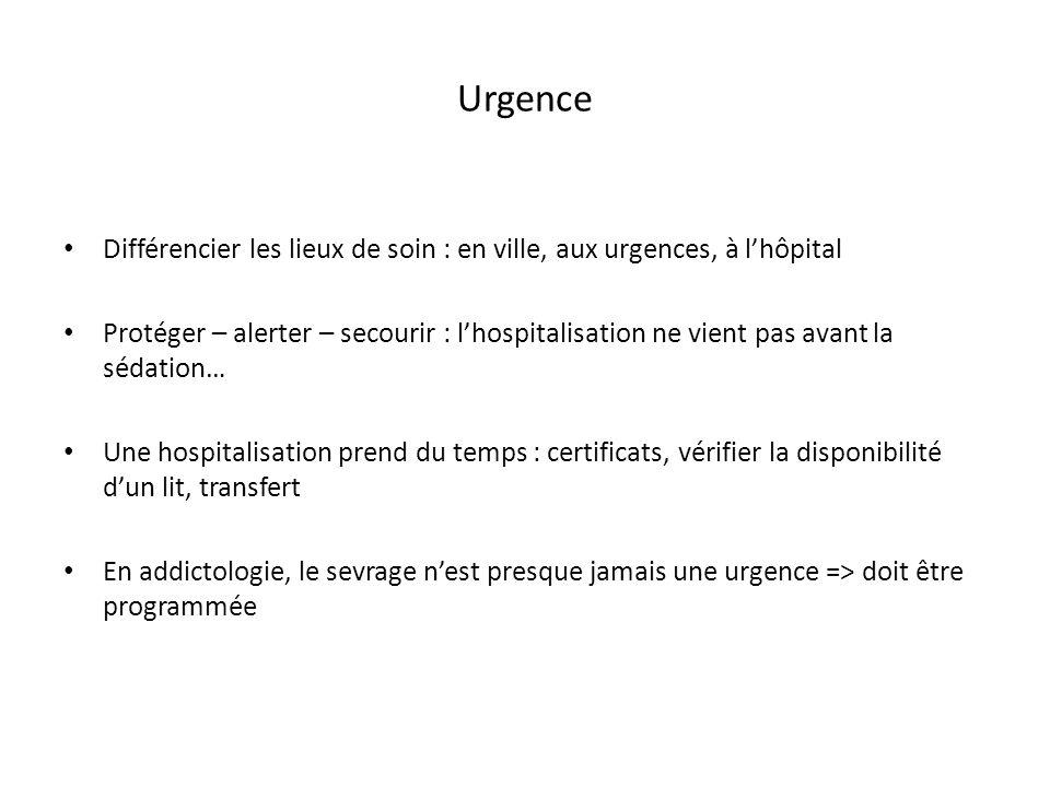 Urgence Différencier les lieux de soin : en ville, aux urgences, à lhôpital Protéger – alerter – secourir : lhospitalisation ne vient pas avant la séd