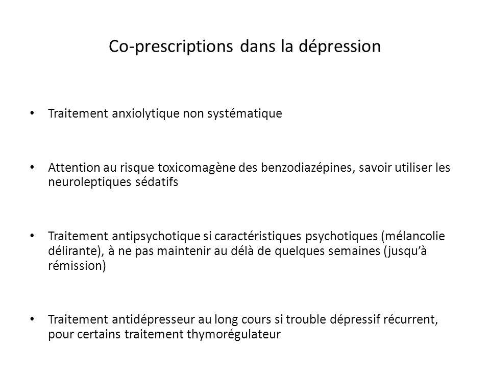 Co-prescriptions dans la dépression Traitement anxiolytique non systématique Attention au risque toxicomagène des benzodiazépines, savoir utiliser les