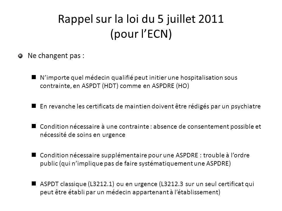 Rappel sur la loi du 5 juillet 2011 (pour lECN) Ne changent pas : Nimporte quel médecin qualifié peut initier une hospitalisation sous contrainte, en