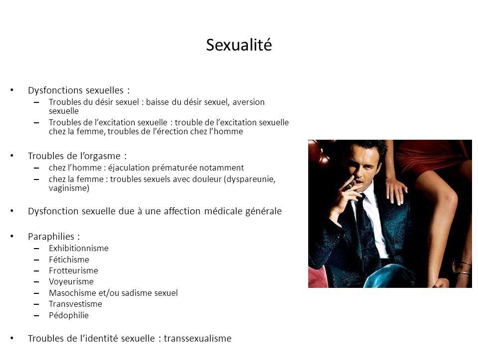 Sexualité Dysfonctions sexuelles : – Troubles du désir sexuel : baisse du désir sexuel, aversion sexuelle – Troubles de lexcitation sexuelle : trouble