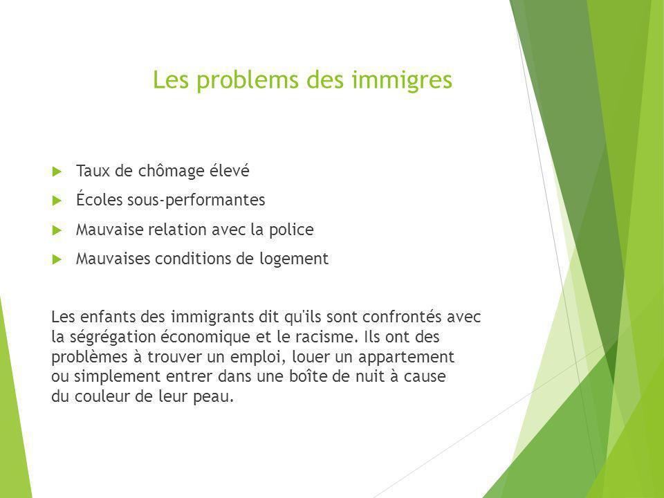 Les problems des immigres Taux de chômage élevé Écoles sous-performantes Mauvaise relation avec la police Mauvaises conditions de logement Les enfants
