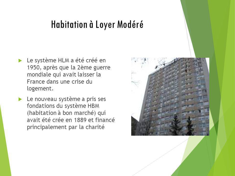 Habitation à Loyer Modéré Le système HLM a été créé en 1950, après que la 2ème guerre mondiale qui avait laisser la France dans une crise du logement.