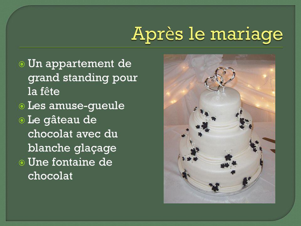Un appartement de grand standing pour la f ê te Les amuse-gueule Le gâteau de chocolat avec du blanche glaçage Une fontaine de chocolat