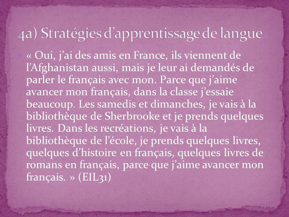 « Oui, jai des amis en France, ils viennent de lAfghanistan aussi, mais je leur ai demandés de parler le français avec mon. Parce que jaime avancer mo