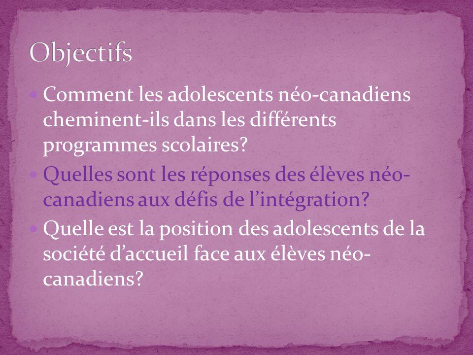 Comment les adolescents néo-canadiens cheminent-ils dans les différents programmes scolaires? Quelles sont les réponses des élèves néo- canadiens aux
