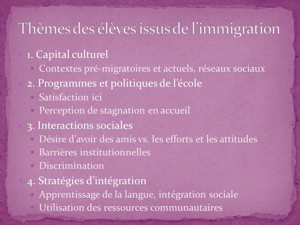 1. Capital culturel Contextes pré-migratoires et actuels, réseaux sociaux 2. Programmes et politiques de lécole Satisfaction ici Perception de stagnat