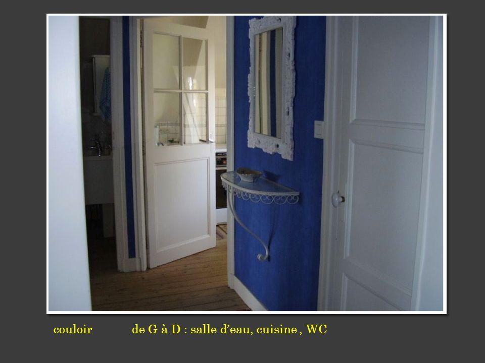 couloir de G à D : salle deau, cuisine, WC