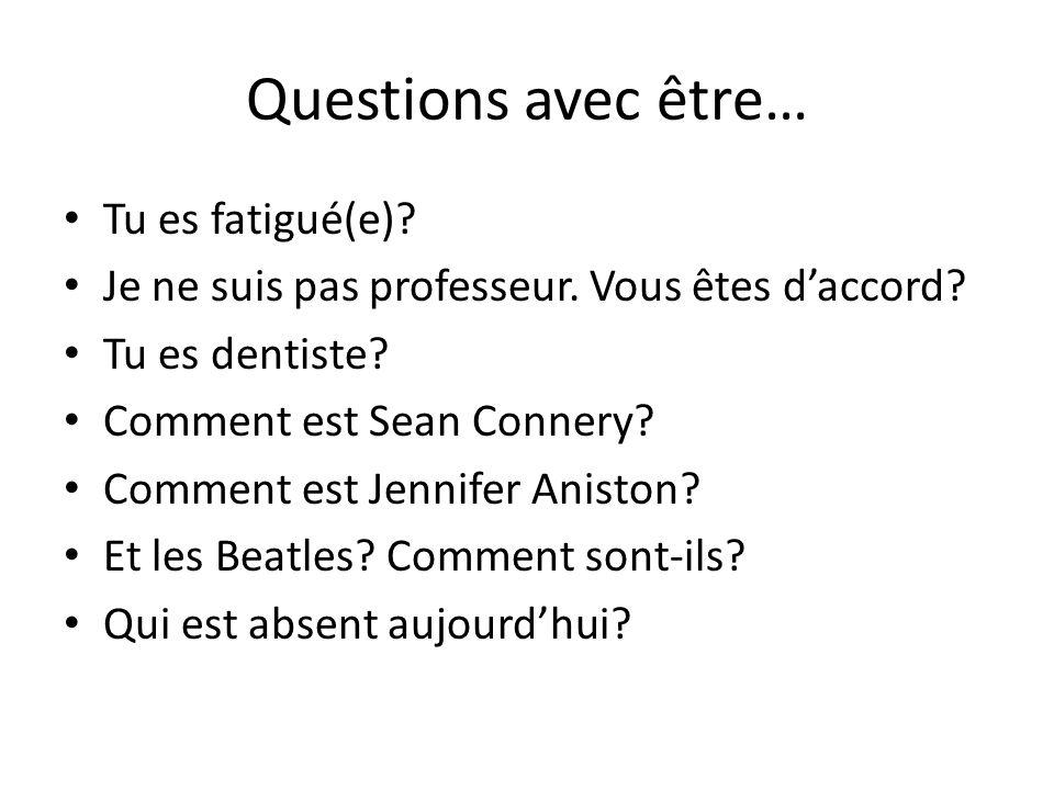 Questions avec être… Tu es fatigué(e). Je ne suis pas professeur.