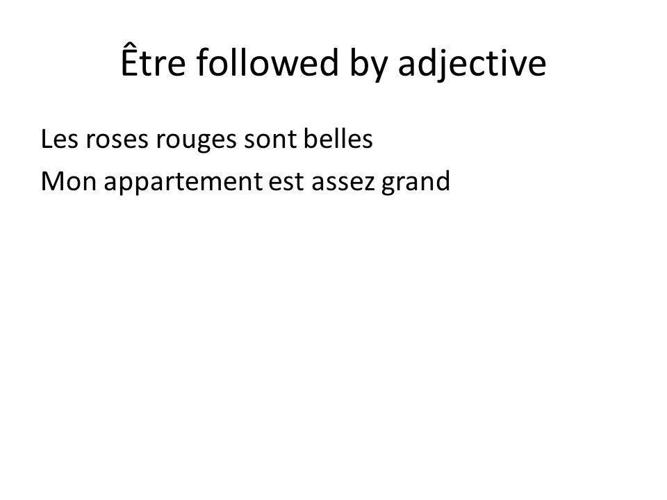 Être followed by adjective Les roses rouges sont belles Mon appartement est assez grand