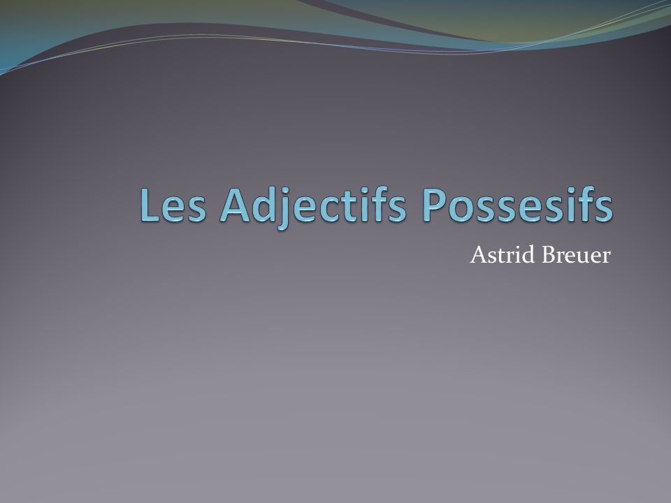 Possessive Adjectives: En anglais = my, your, his/her/its, our, your (plural), their Placed before noun Agree in gender and number with the thing which is possessed, not who possesses them