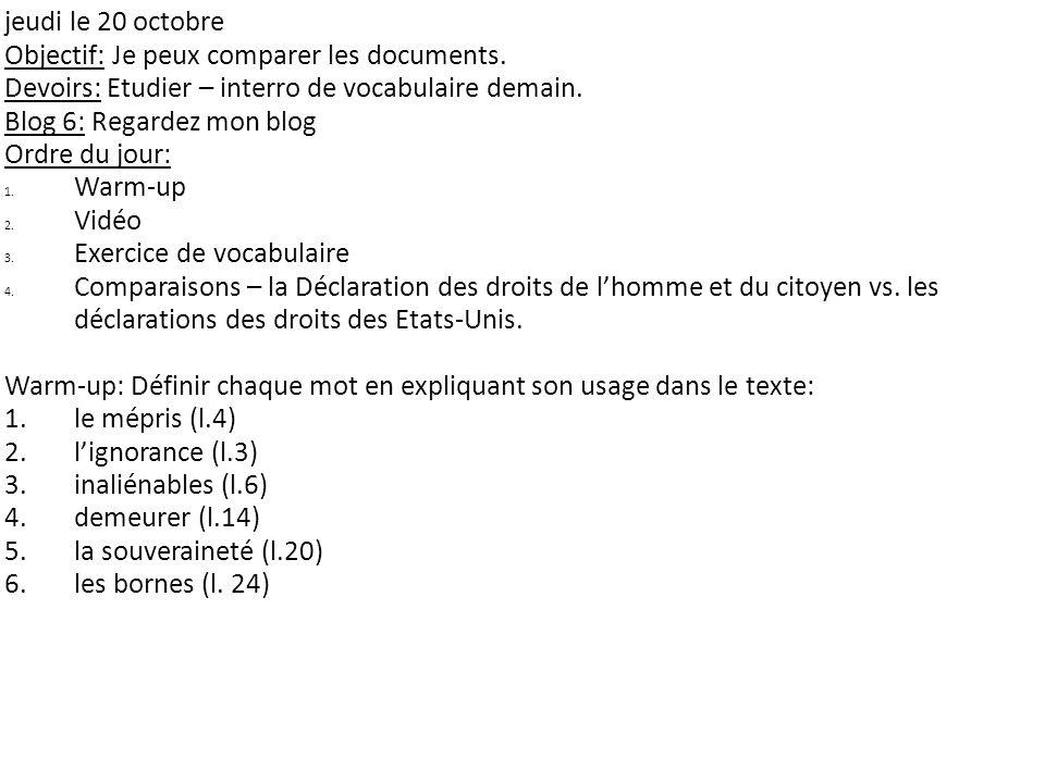 jeudi le 20 octobre Objectif: Je peux comparer les documents.