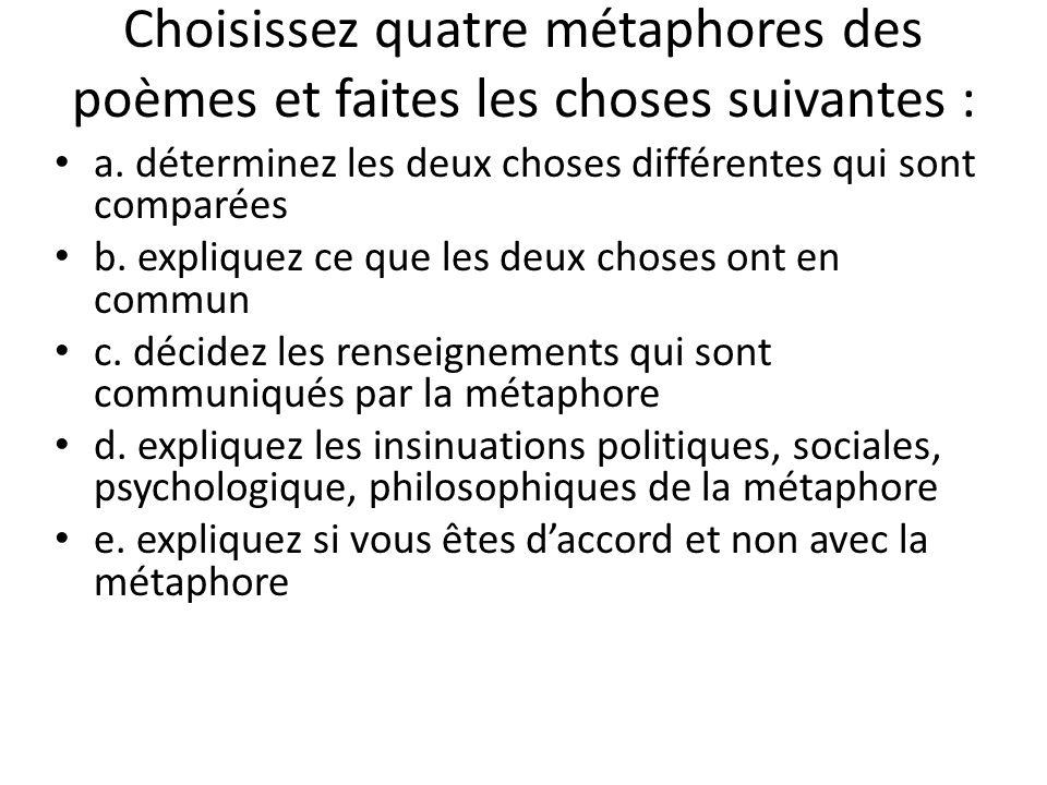 Choisissez quatre métaphores des poèmes et faites les choses suivantes : a.