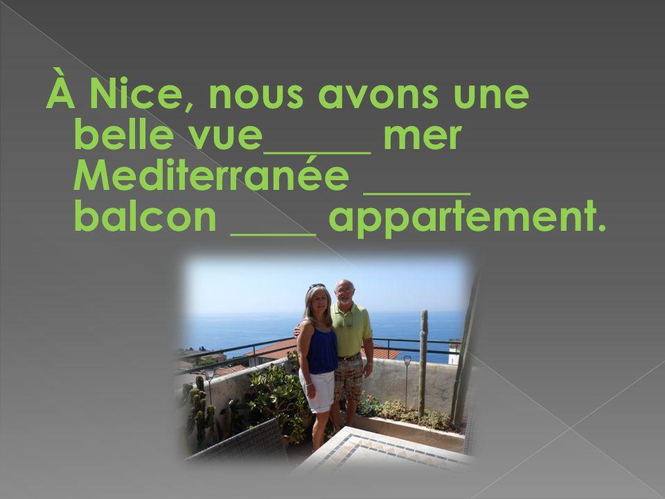 À Nice, nous avons une belle vue_____ mer Mediterranée _____ balcon ____ appartement.