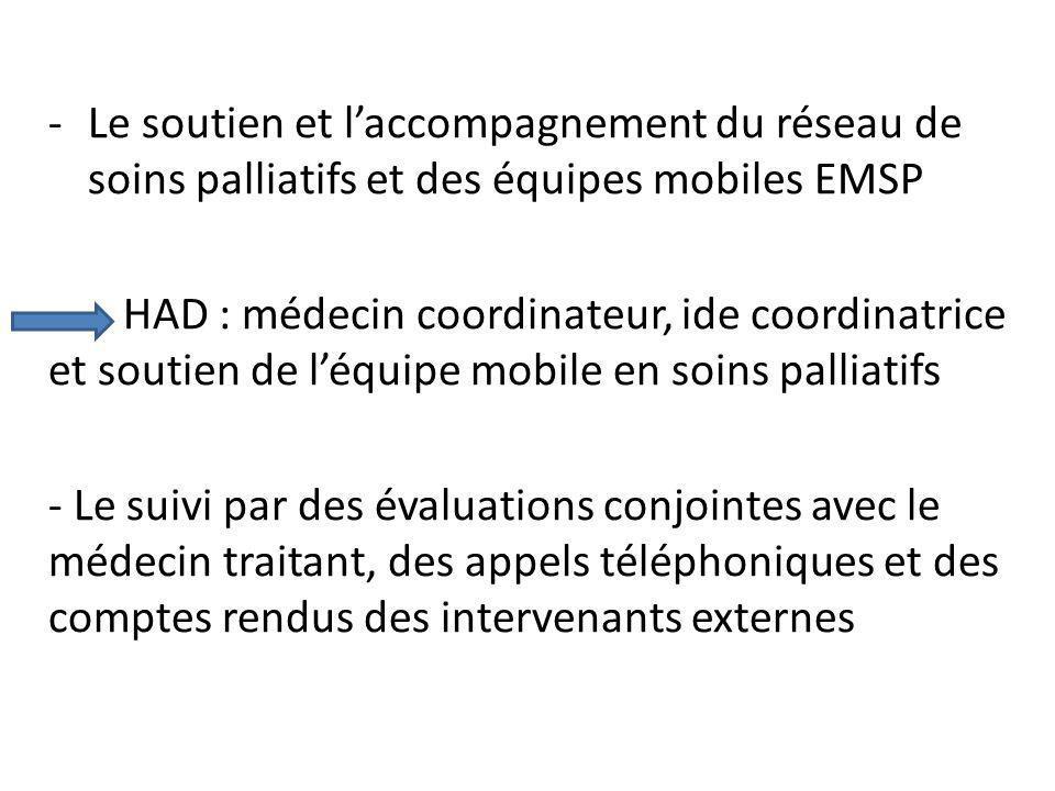 -Le soutien et laccompagnement du réseau de soins palliatifs et des équipes mobiles EMSP HAD : médecin coordinateur, ide coordinatrice et soutien de l