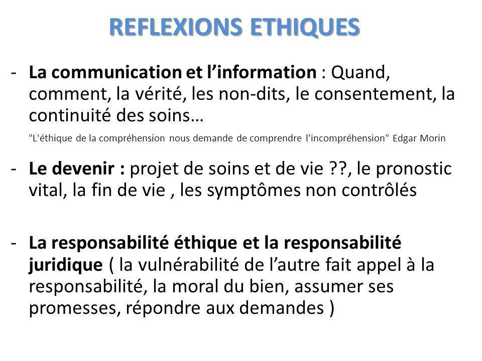 REFLEXIONS ETHIQUES -La communication et linformation : Quand, comment, la vérité, les non-dits, le consentement, la continuité des soins… -Le devenir