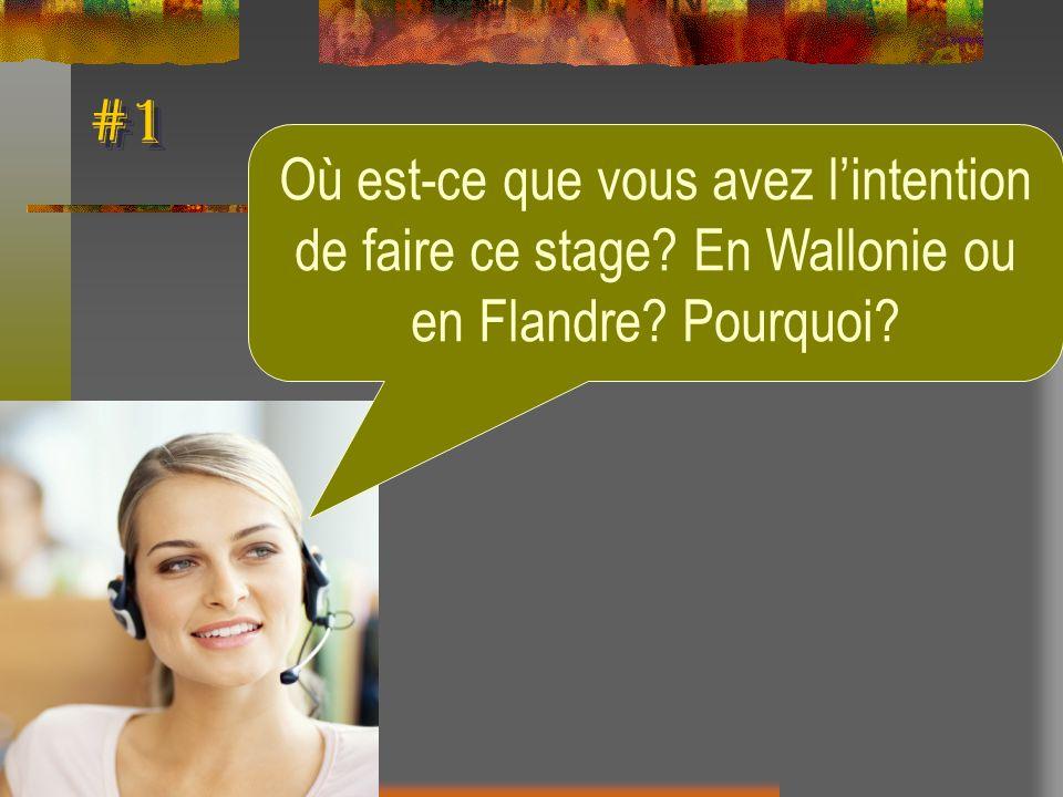 #1 Où est-ce que vous avez lintention de faire ce stage? En Wallonie ou en Flandre? Pourquoi?