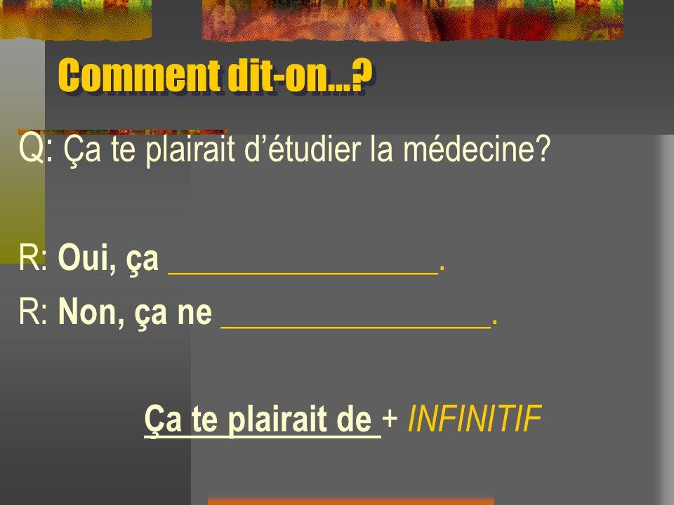 Comment dit-on…? Q: Ça te plairait détudier la médecine? R: Oui, ça ________________. R: Non, ça ne ________________. Ça te plairait de + INFINITIF