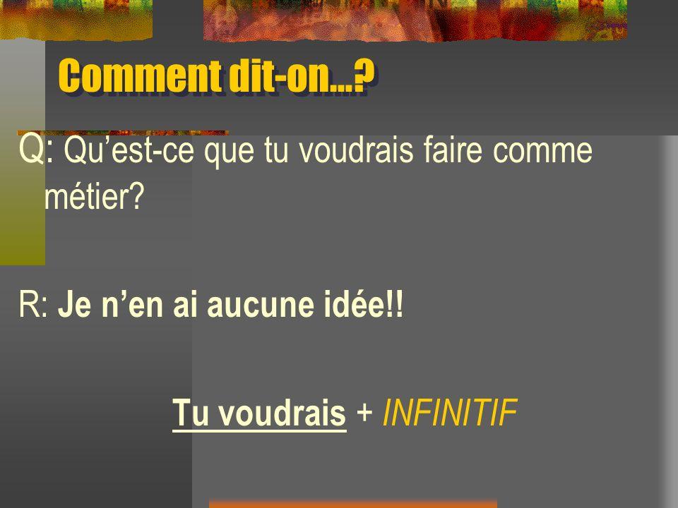 Comment dit-on…? Q: Quest-ce que tu voudrais faire comme métier? R: Je nen ai aucune idée!! Tu voudrais + INFINITIF