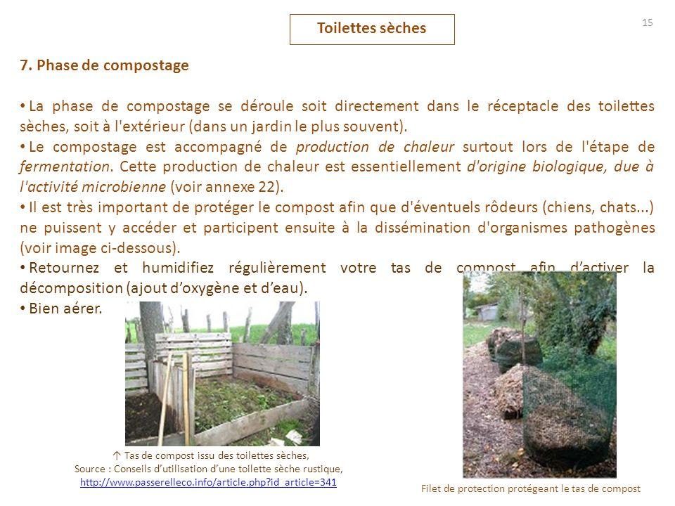 15 7. Phase de compostage La phase de compostage se déroule soit directement dans le réceptacle des toilettes sèches, soit à l'extérieur (dans un jard