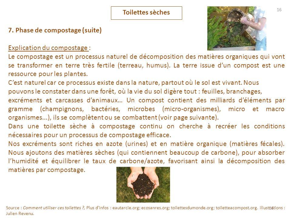 16 Toilettes sèches 7. Phase de compostage (suite) Explication du compostage : Le compostage est un processus naturel de décomposition des matières or