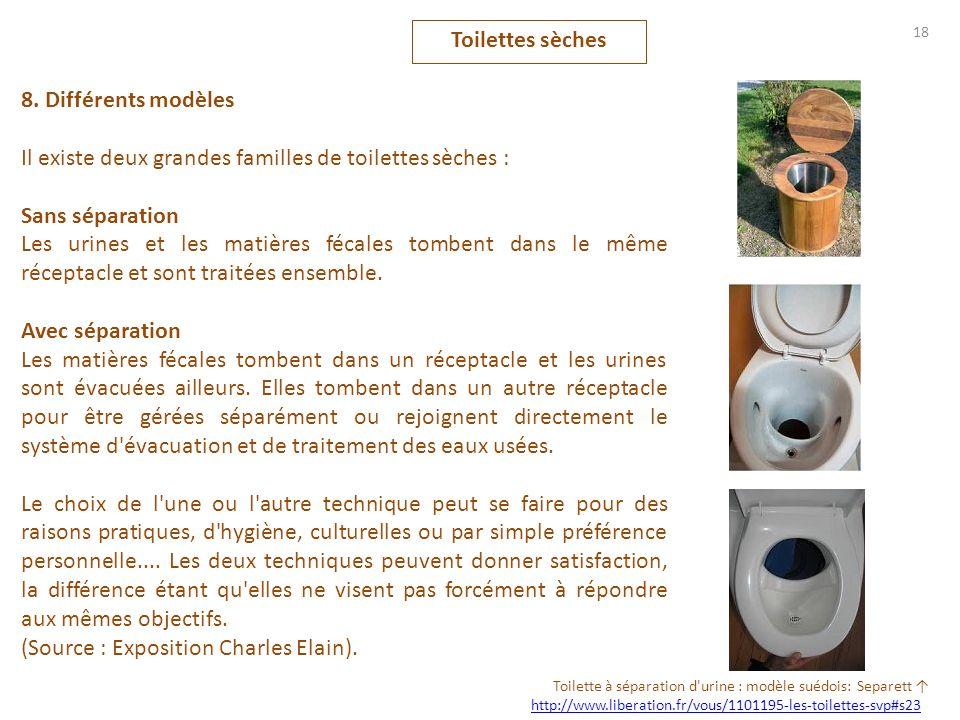 8. Différents modèles Il existe deux grandes familles de toilettes sèches : Sans séparation Les urines et les matières fécales tombent dans le même ré