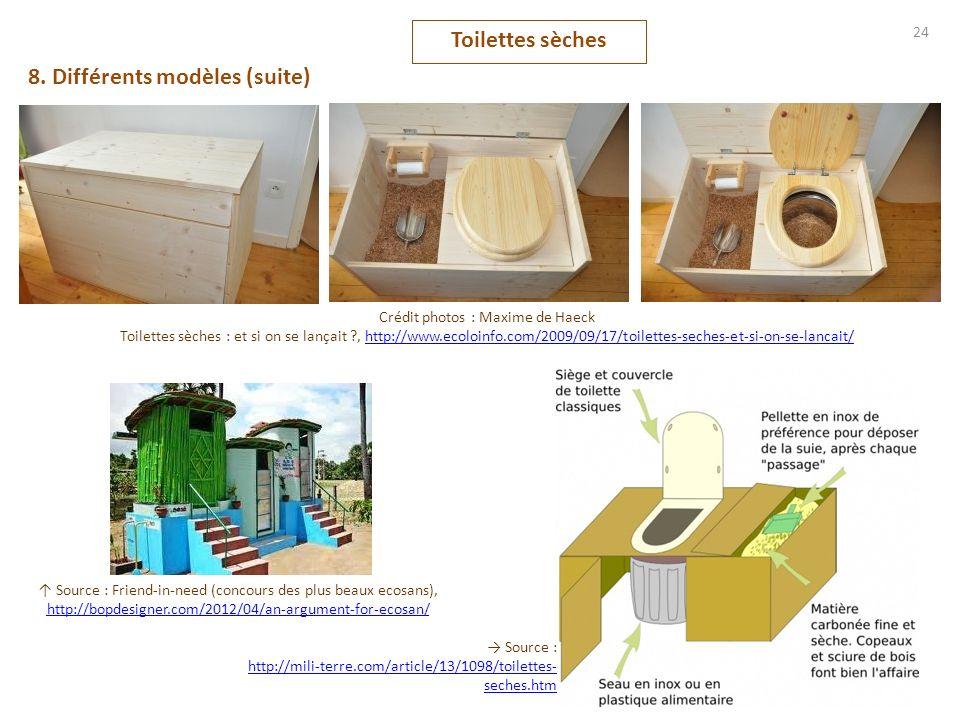 Toilettes sèches 24 8. Différents modèles (suite) Crédit photos : Maxime de Haeck Toilettes sèches : et si on se lançait ?, http://www.ecoloinfo.com/2