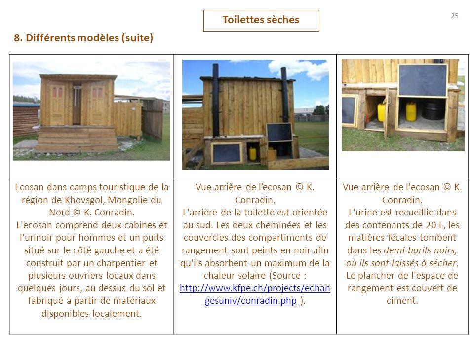 Toilettes sèches 25 8. Différents modèles (suite) Ecosan dans camps touristique de la région de Khovsgol, Mongolie du Nord © K. Conradin. L'ecosan com