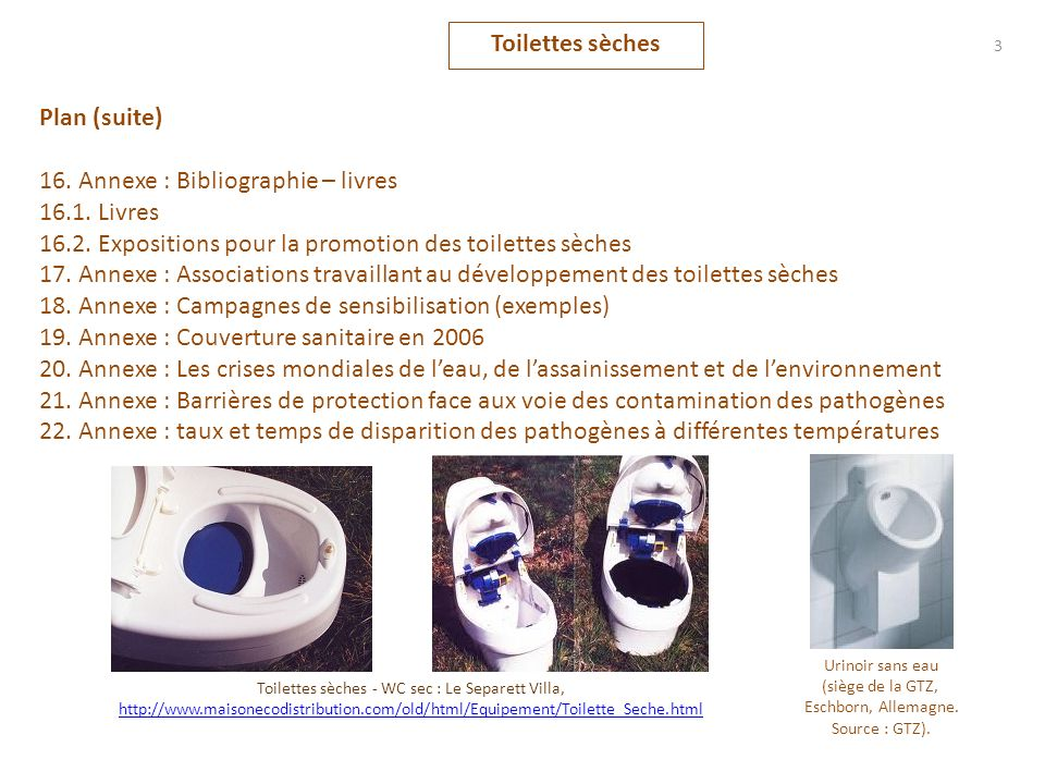 Plan (suite) 16. Annexe : Bibliographie – livres 16.1. Livres 16.2. Expositions pour la promotion des toilettes sèches 17. Annexe : Associations trava