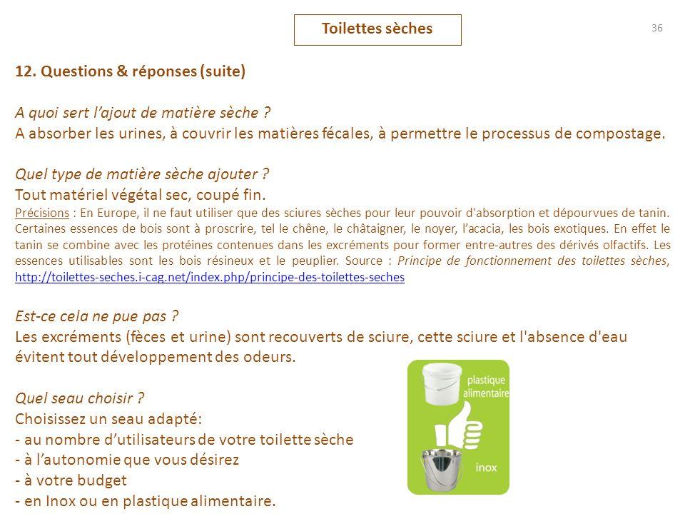 12. Questions & réponses (suite) A quoi sert lajout de matière sèche ? A absorber les urines, à couvrir les matières fécales, à permettre le processus