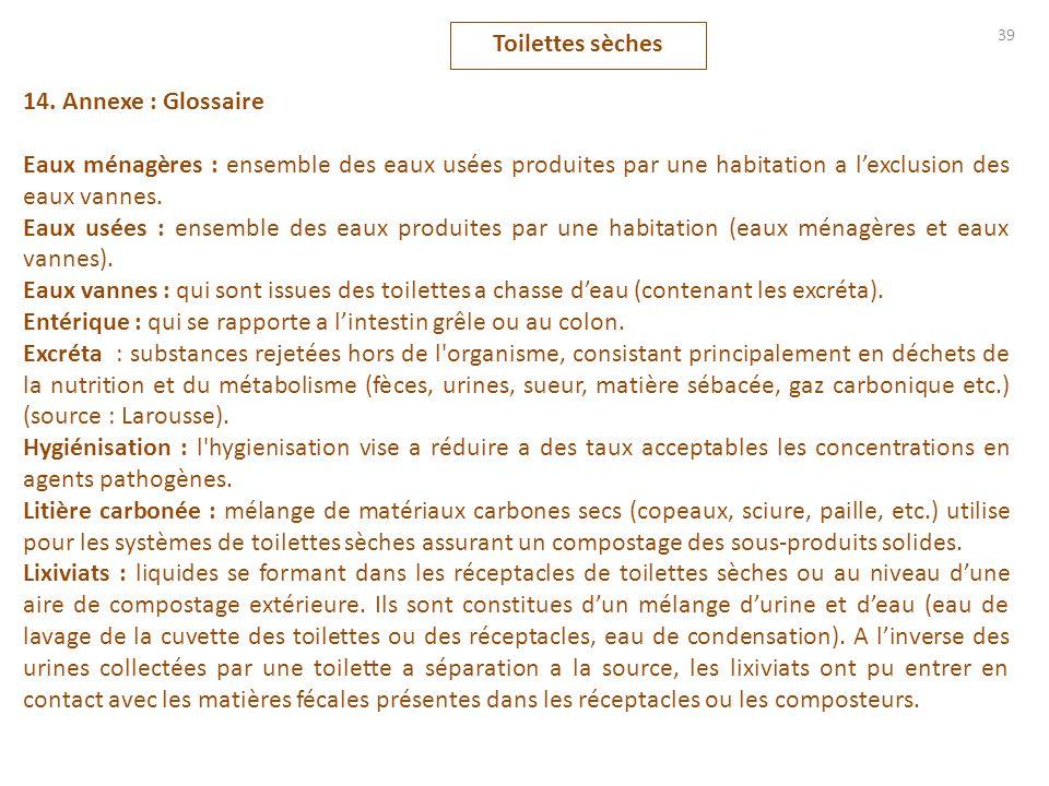 39 14. Annexe : Glossaire Eaux ménagères : ensemble des eaux usées produites par une habitation a lexclusion des eaux vannes. Eaux usées : ensemble de