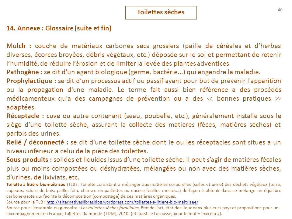 40 14. Annexe : Glossaire (suite et fin) Mulch : couche de matériaux carbones secs grossiers (paille de céréales et dherbes diverses, écorces broyées,