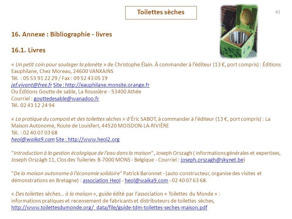 43 16. Annexe : Bibliographie - livres 16.1. Livres « Un petit coin pour soulager la planète » de Christophe Élain. À commander à léditeur (13, port c