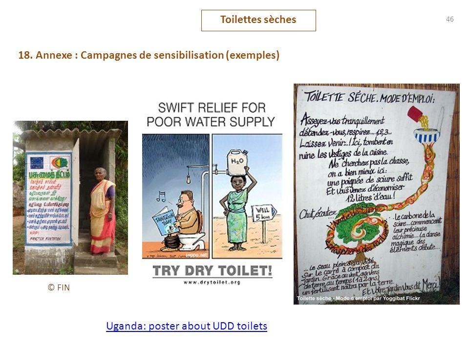 46 18. Annexe : Campagnes de sensibilisation (exemples) Toilettes sèches Uganda: poster about UDD toilets © FIN