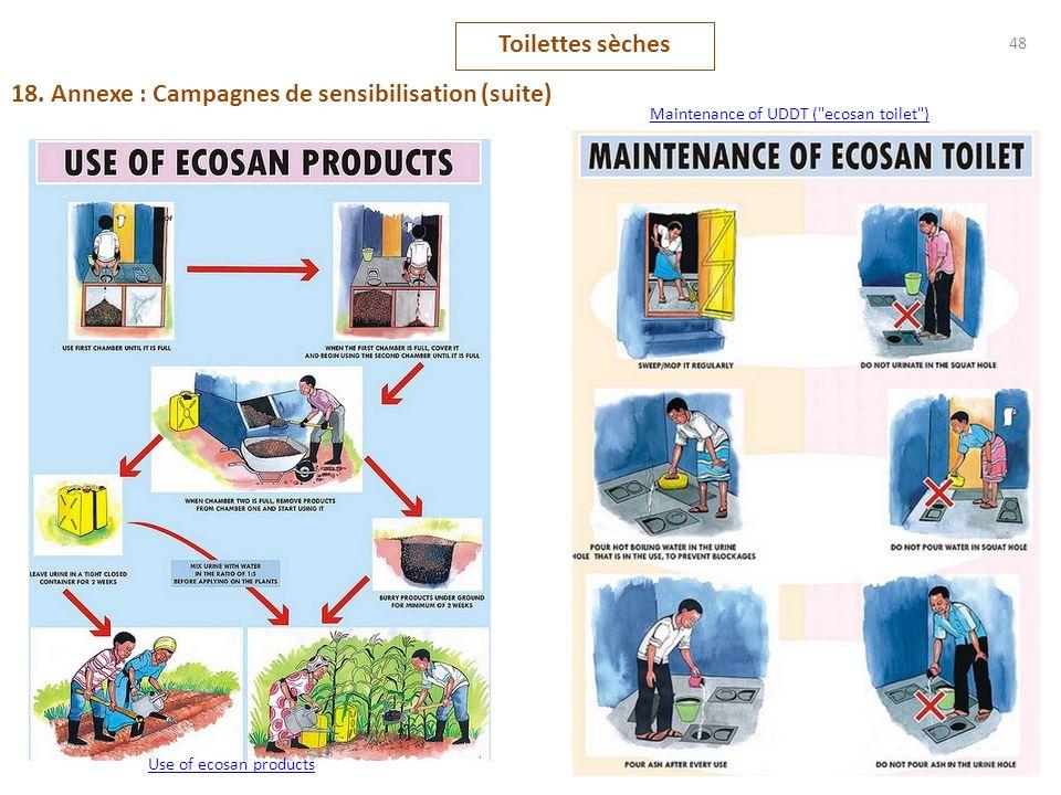 48 18. Annexe : Campagnes de sensibilisation (suite) Toilettes sèches Maintenance of UDDT (