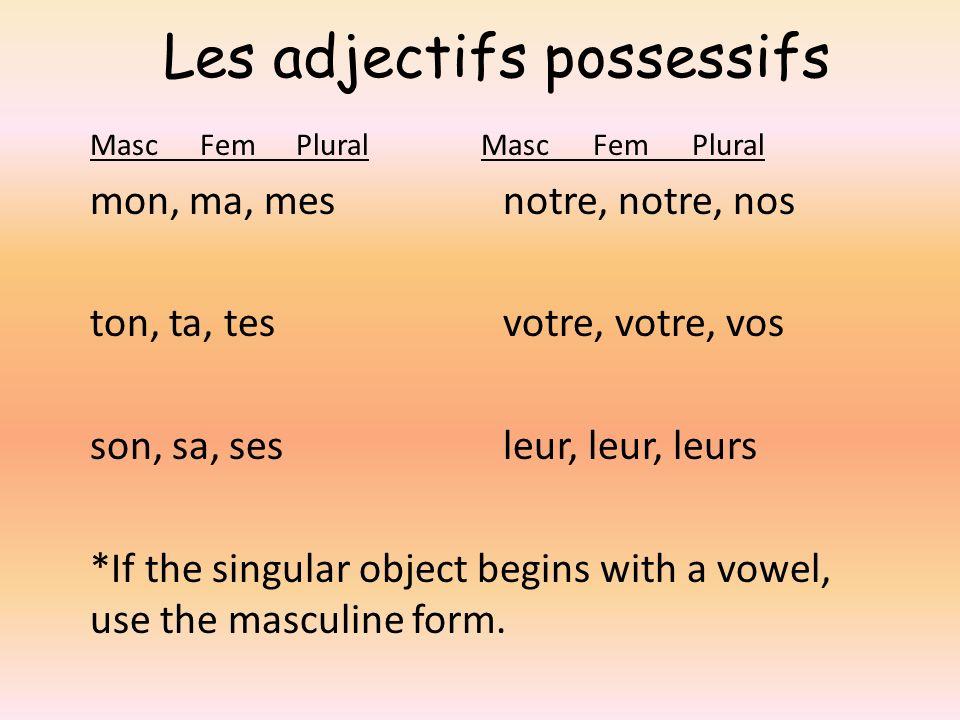 Les adjectifs possessifs Masc Fem Plural mon, ma, mes notre, notre, nos ton, ta, tes votre, votre, vos son, sa, ses leur, leur, leurs *If the singular object begins with a vowel, use the masculine form.