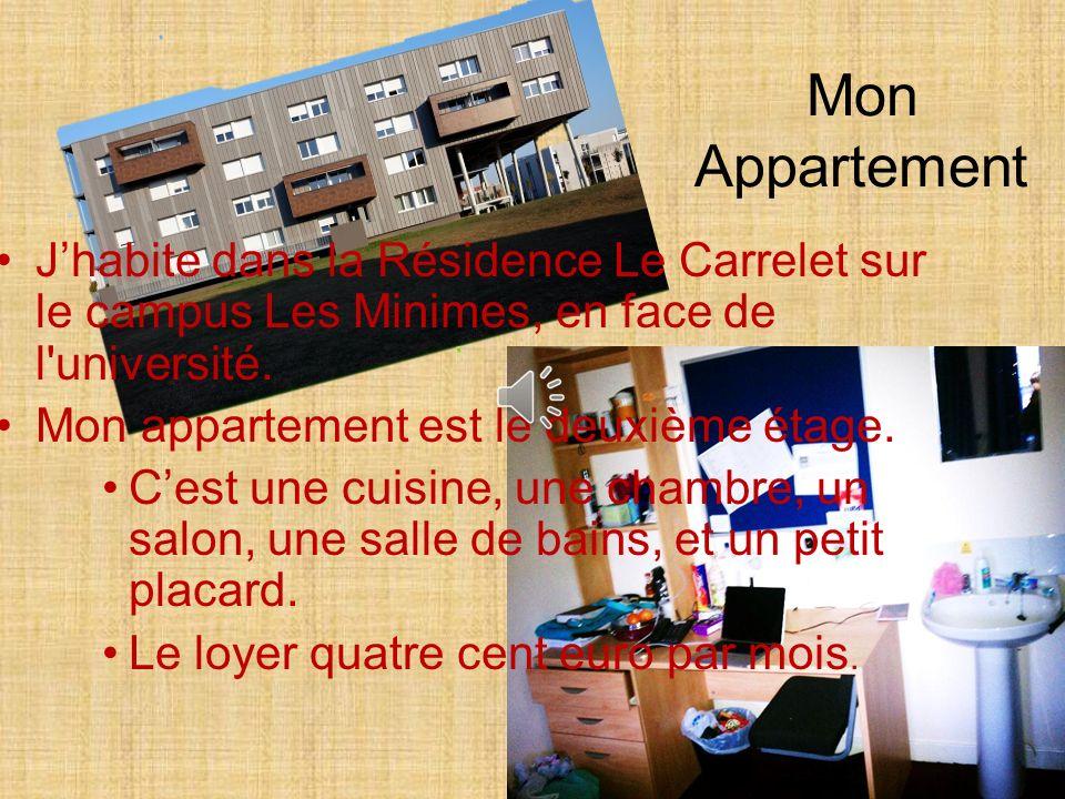 Mon Appartement Jhabite dans la Résidence Le Carrelet sur le campus Les Minimes, en face de l université.