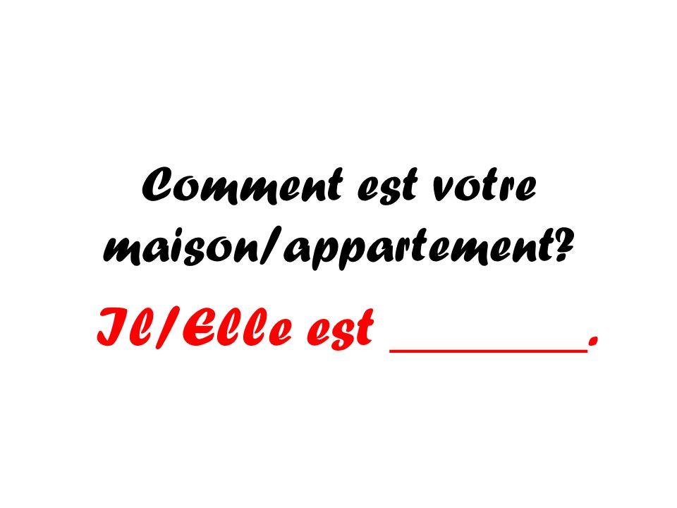 Comment est votre maison/appartement? Il/Elle est _______.
