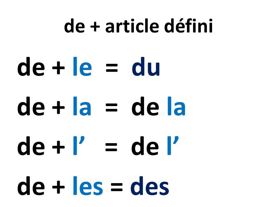 de + article défini de + le = du de + la = de la de + l = de l de + les = des
