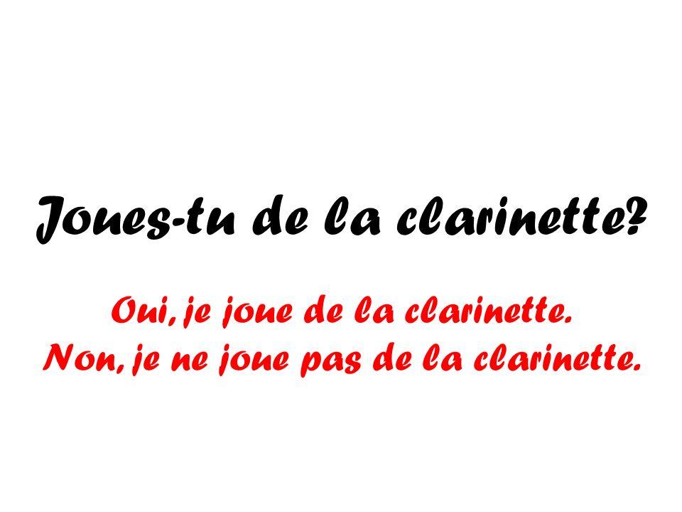 Joues-tu de la clarinette? Oui, je joue de la clarinette. Non, je ne joue pas de la clarinette.