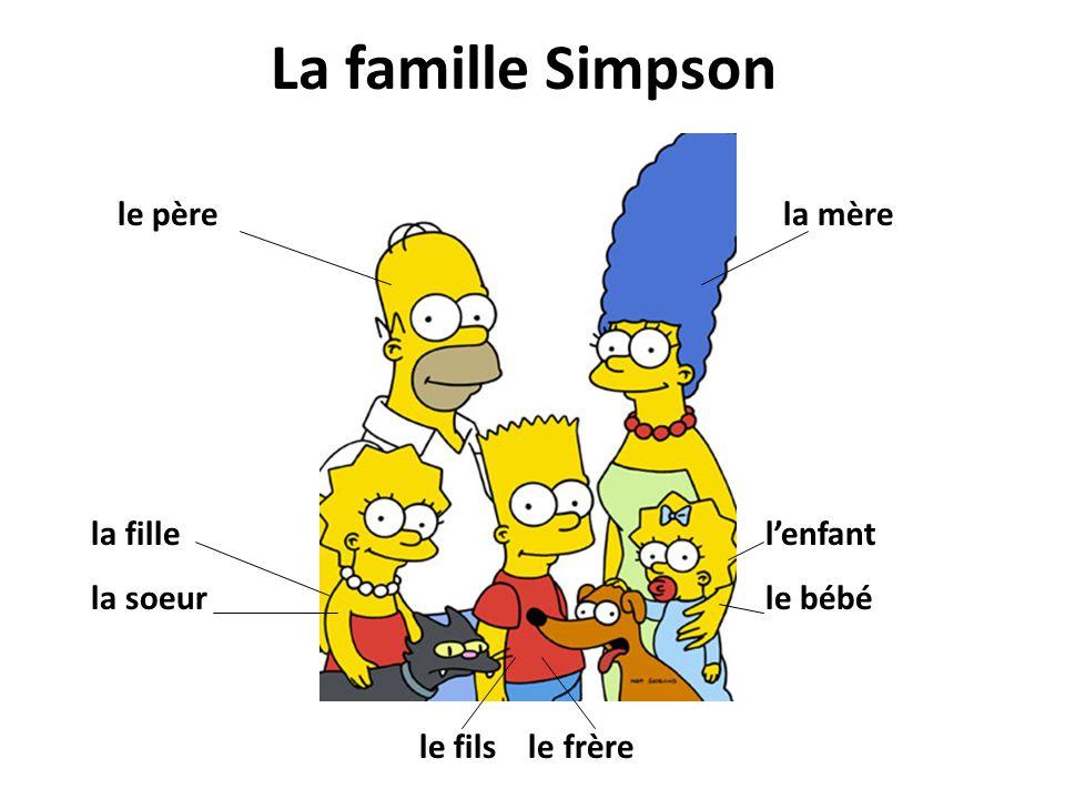 La famille Simpson le pèrela mère la fille la soeur le fils le frère lenfant le bébé