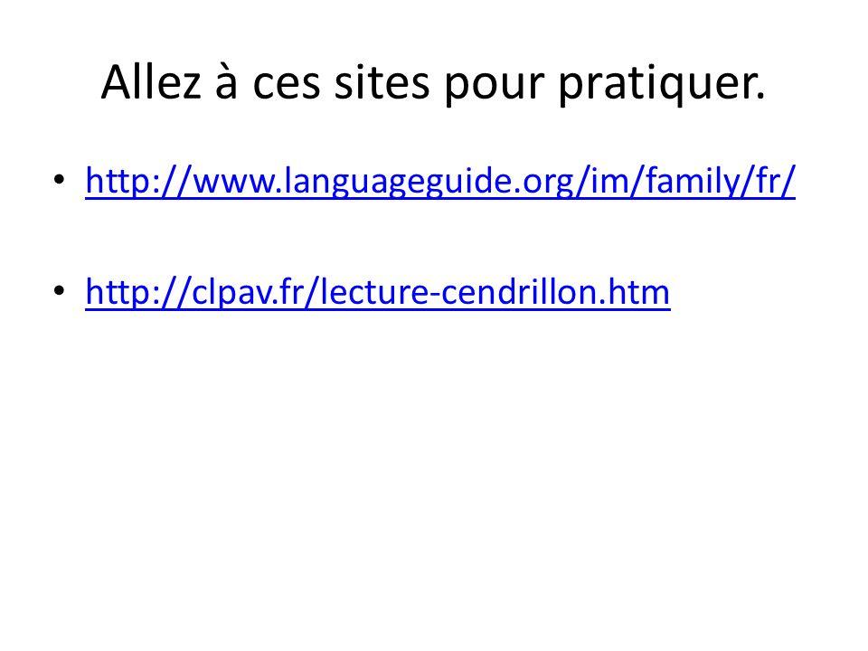Allez à ces sites pour pratiquer. http://www.languageguide.org/im/family/fr/ http://clpav.fr/lecture-cendrillon.htm